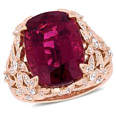 Bellini  14K Rose Gold Pink Tourmaline & Diamond Vintage Cocktail Ring