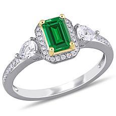 Bellini 14K Two-Tone 1.02ctw Emerald, Sapphire and Diamond Halo Ring
