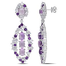 Bellini  14K White Gold Amethyst and Diamond Marquise Earrings