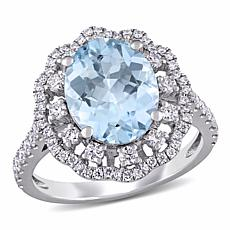 Bellini 14K White Gold Aquamarine and Diamond Halo Ring