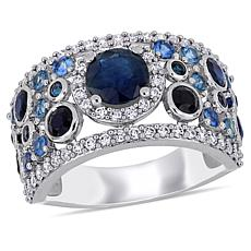 Bellini 14K White Gold Blue Sapphire and Diamond Cigar Ring