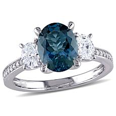 Bellini  14K White Gold London Blue Topaz and Diamond Three-Stone Ring