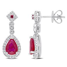 Bellini  14K White Gold Ruby and Diamond Drop Earrings