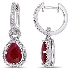 Bellini 14K White Gold Ruby Teardrop Diamond-Accented Earrings