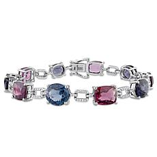 Bellini 14K White Gold Spinel and Diamond Geometric Linked Bracelet
