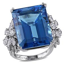 Bellini 14K White Gold Swiss Blue Topaz and Diamond Cocktail Ring