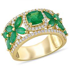 Bellini 14K Yellow Gold Diamond and Emerald Ring