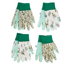 Bellport Gardens 4 Pairs Garden Gloves with Slip-Resistant Dots
