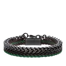 Ben Sherman Men's Franco Chain & Green/Black Braided Cord Bracelet Set