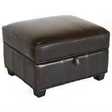 Benvolio Dark Brown Leather Ottoman