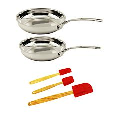 BergHOFF® EarthChef Stainless Steel Fry 5-piece Pan Set with Tools