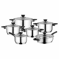 BergHOFF Essentials Gourmet 12-piece Cookware Set, Black Handles