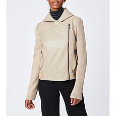 Bernardo Faux Leather Jacket with Knit Combo
