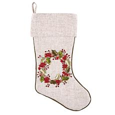 Berry Wreath Ribbon Art Stocking