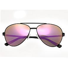 Bertha Bianca Polarized Sunglasses Black Frame Rose Gold Lens