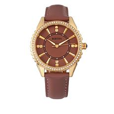 "Bertha ""Clara"" Crystal-Accented Dial Leather Strap Watch"