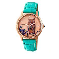 "Bertha Watches ""Madeline"" Owl Croco Leather Strap Watch"