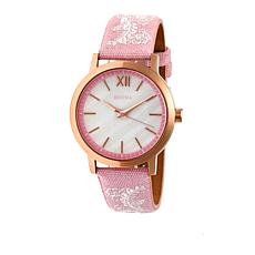 """Bertha Watches """"Penelope"""" Lace Design Leather Strap Watch"""