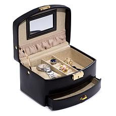 Bey-Berk Black Leather 2-Level Jewelry Case