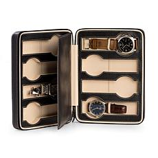 Bey-Berk Black Leather 8 Watch Storage and Travel Case