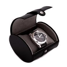 Bey-Berk Black Leather Single Watch Travel Case