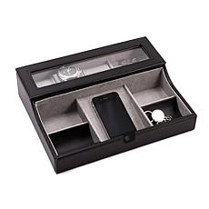 Bey-Berk Black Leather Valet Box for 3 Watches and Cufflinks