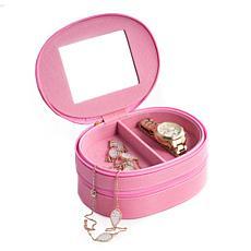 """Bey-Berk Pink """"Lizard"""" Leather 2-Level Jewelry Case"""