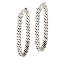 Bianca Milano Sterling Silver Ribbed Oval Hoop Earrings