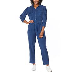Billy T Ace Button-Front 3/4 Sleeve Utility Jumpsuit