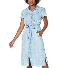 Billy T Belted Flutter-Sleeve Shirtdress