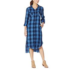 Billy T Buffalo Plaid 2-Way Utility Maxi Shirtdress