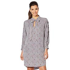 Billy T Chambray Tie-Neck Shirt Dress