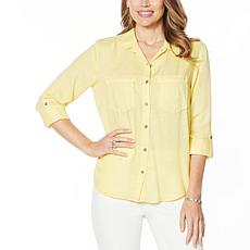 Billy T Happy Summer Button-Up Lace-Back Shirt