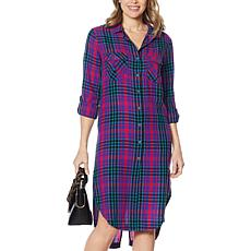 Billy T Plaid Print Button Down Shirt Dress