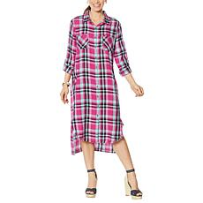 Billy T Plaid Print Shirt Dress with Pockets