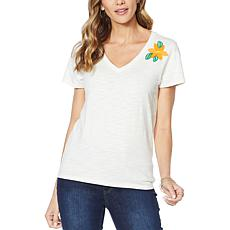 Billy T Pop-Up Floral Short Sleeve V-Neck Tee