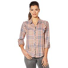 Billy T Ruffled Button Down Plaid Shirt