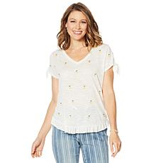 Billy T Summer Blues Embroidered Lemon Tee