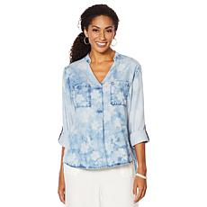 Billy T Summer Blues Henna-Print Pullover Shirt