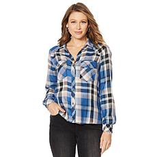 Billy T Summer Blues Indigo Plaid Button-Down Shirt