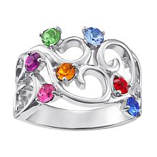 Birthstone Crystal Sterling Silver Filigree Family Ring