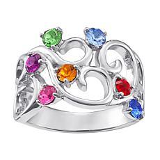 Birthstone Crystal Sterling Silver Filigree Family Ring
