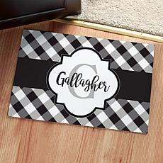 Black and White Gingham Personalized Doormat