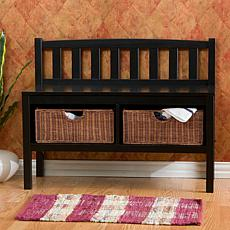 Black Bench with Brown Rattan Baskets