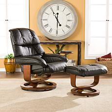 Black Bonded Reconstituted Leather Recliner and Ottoman