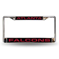 Black Laser Chrome License Plate Frame-Atlanta Falcons