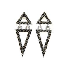 Black Marcasite Sterling Silver Double-Triangle Drop Earrings