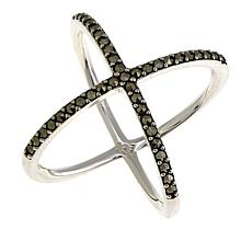Black Marcasite Sterling Silver Negative-Space X-Design Ring
