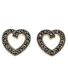 Black Marcasite Sterling Silver Open-Heart Stud Earrings