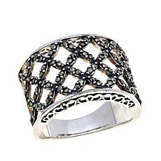 Black Marcasite Sterling Silver Open-Weave Band Ring